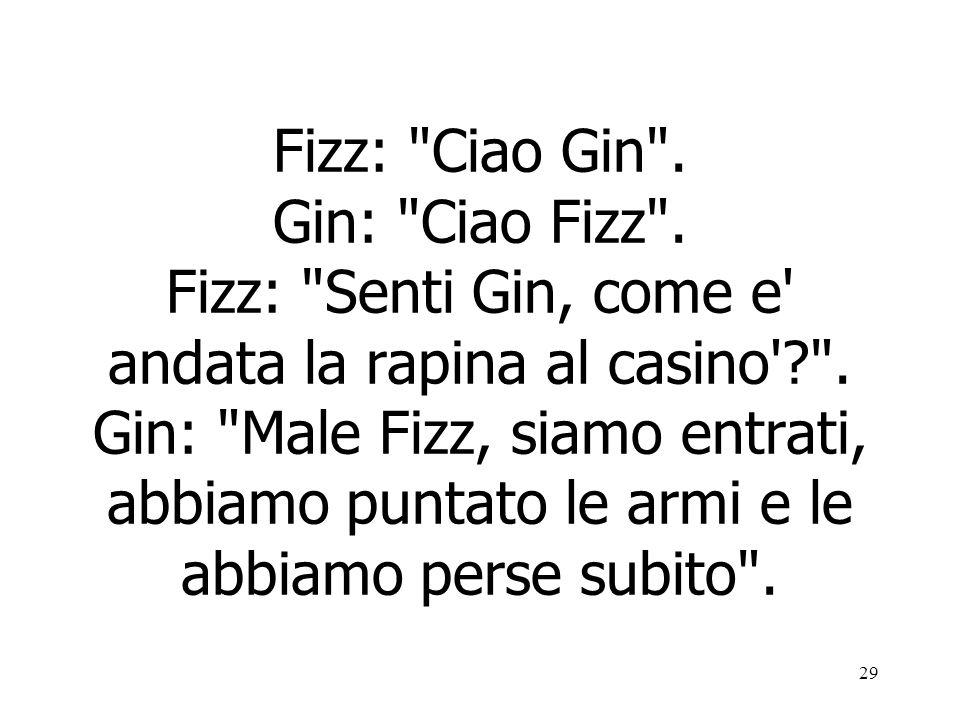 Fizz: Ciao Gin . Gin: Ciao Fizz