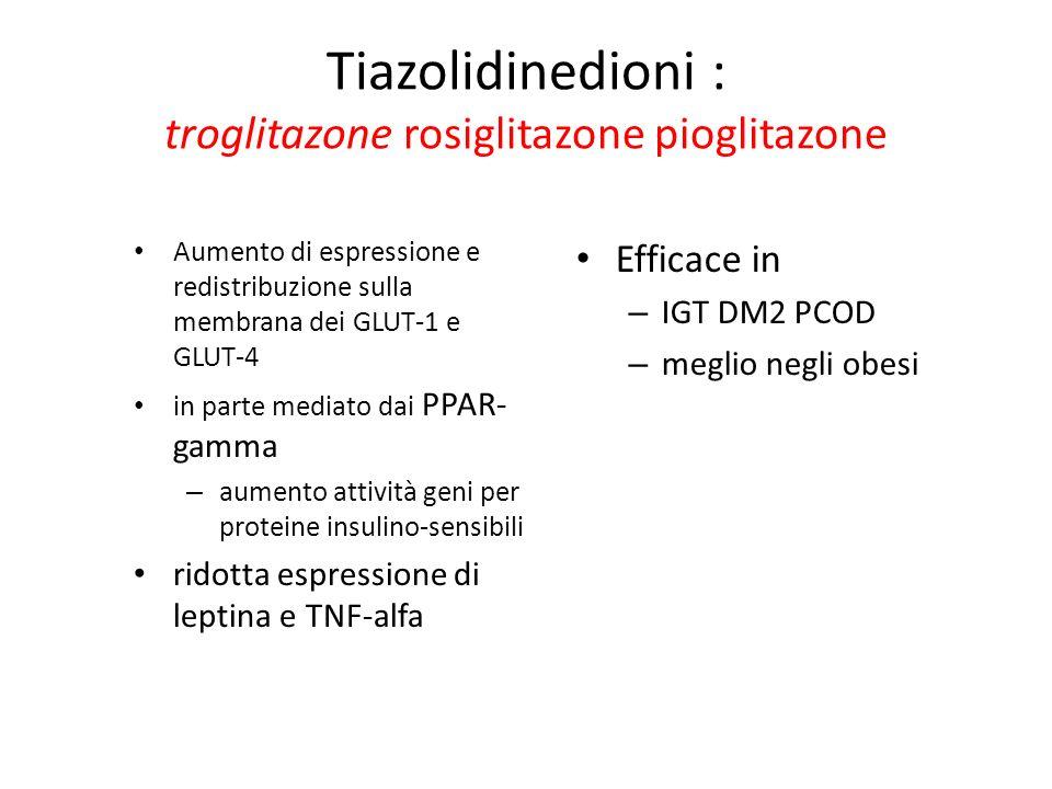 Tiazolidinedioni : troglitazone rosiglitazone pioglitazone