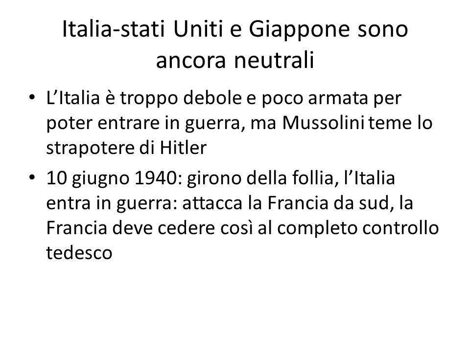 Italia-stati Uniti e Giappone sono ancora neutrali