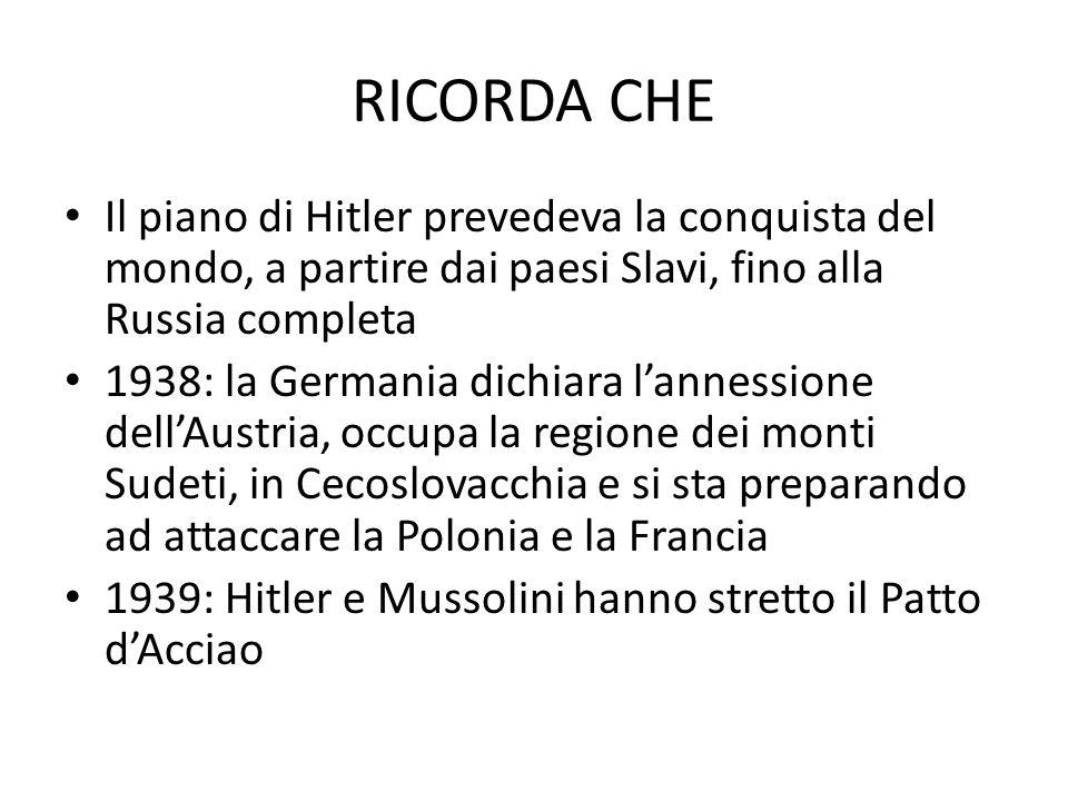 RICORDA CHE Il piano di Hitler prevedeva la conquista del mondo, a partire dai paesi Slavi, fino alla Russia completa.