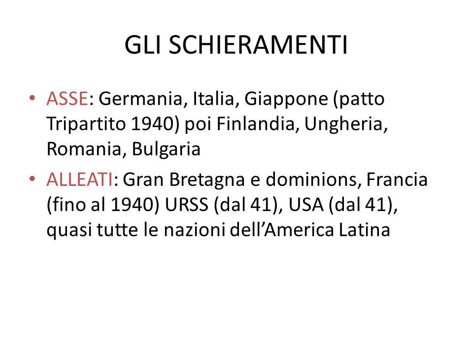 GLI SCHIERAMENTIASSE: Germania, Italia, Giappone (patto Tripartito 1940) poi Finlandia, Ungheria, Romania, Bulgaria.
