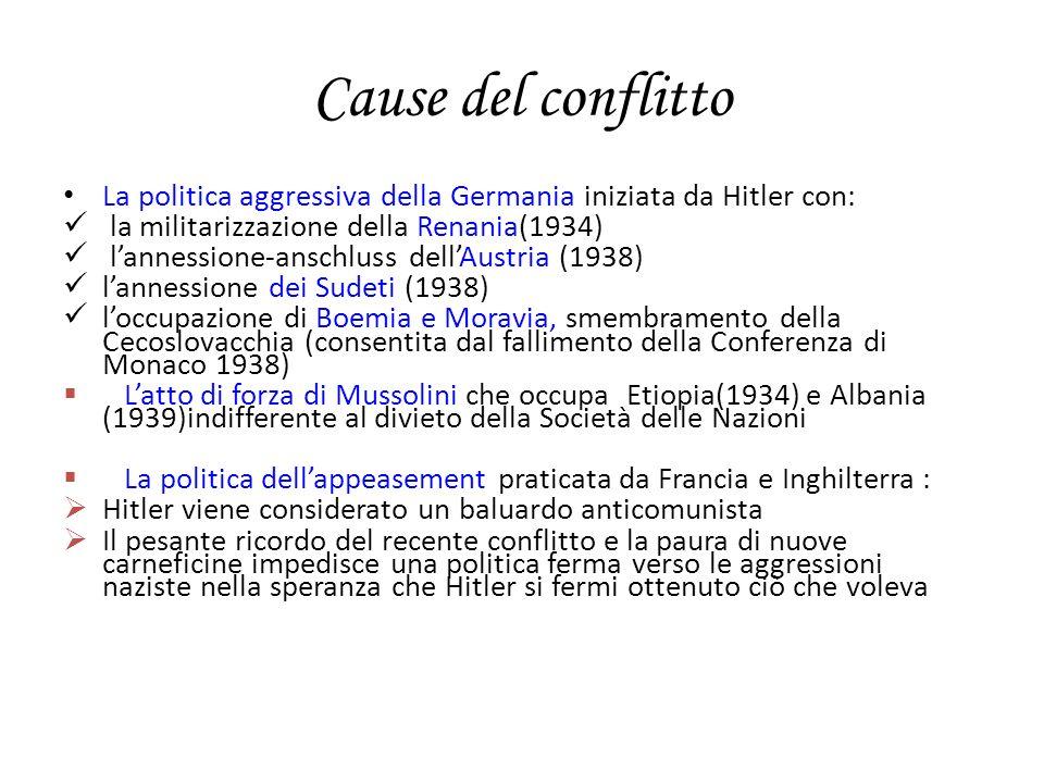 Cause del conflittoLa politica aggressiva della Germania iniziata da Hitler con: la militarizzazione della Renania(1934)