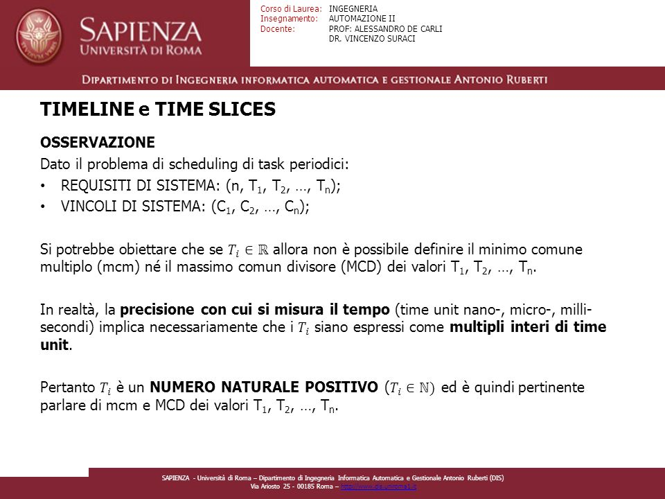 TIMELINE e TIME SLICES OSSERVAZIONE