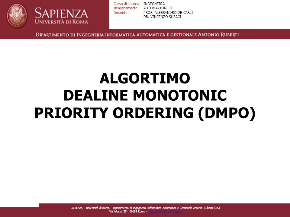 ALGORTIMO DEALINE MONOTONIC PRIORITY ORDERING (DMPO)