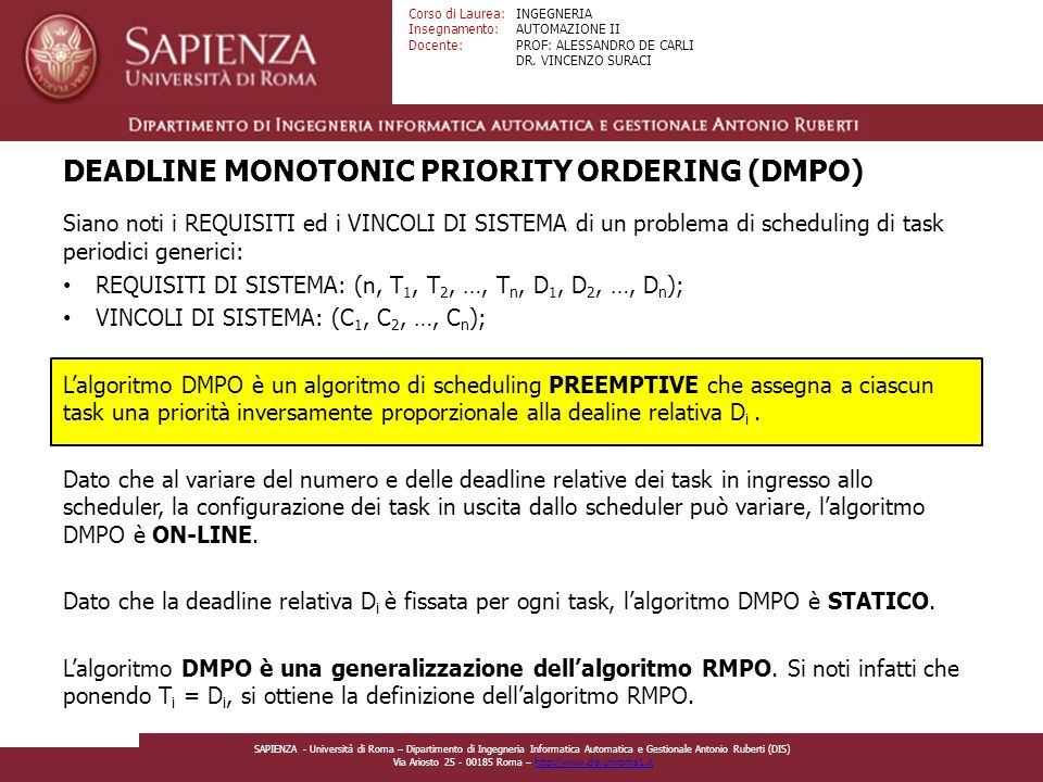 DEADLINE MONOTONIC PRIORITY ORDERING (DMPO)
