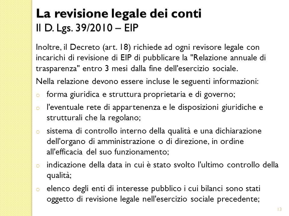 La revisione legale dei conti