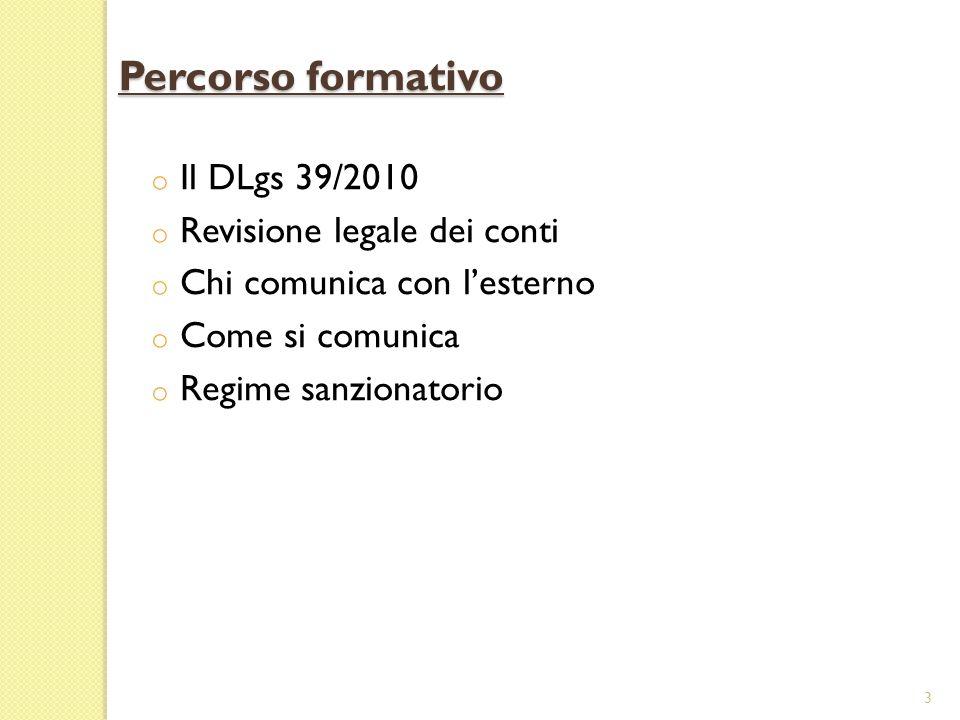 Percorso formativo Il DLgs 39/2010 Revisione legale dei conti