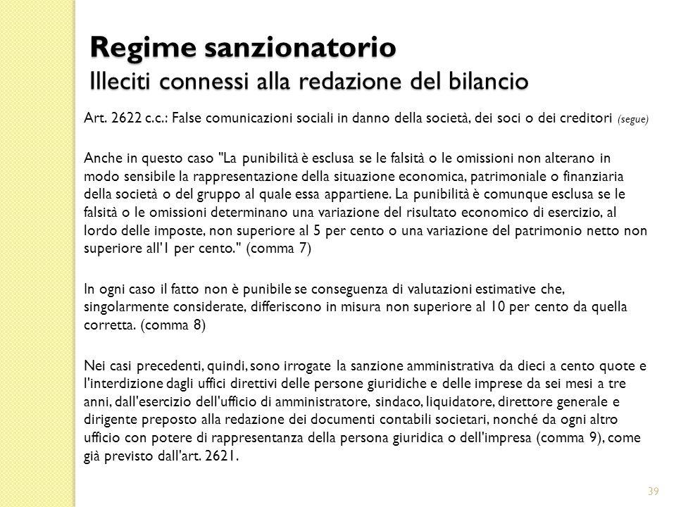 Regime sanzionatorio Illeciti connessi alla redazione del bilancio