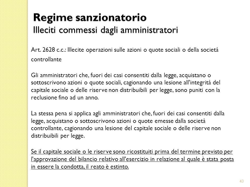 Regime sanzionatorio Illeciti commessi dagli amministratori