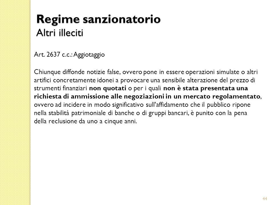 Regime sanzionatorio Altri illeciti Art. 2637 c.c.: Aggiotaggio