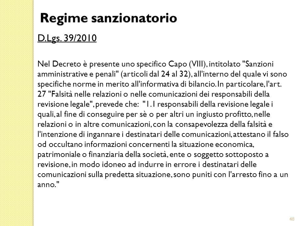 Regime sanzionatorio D.Lgs. 39/2010