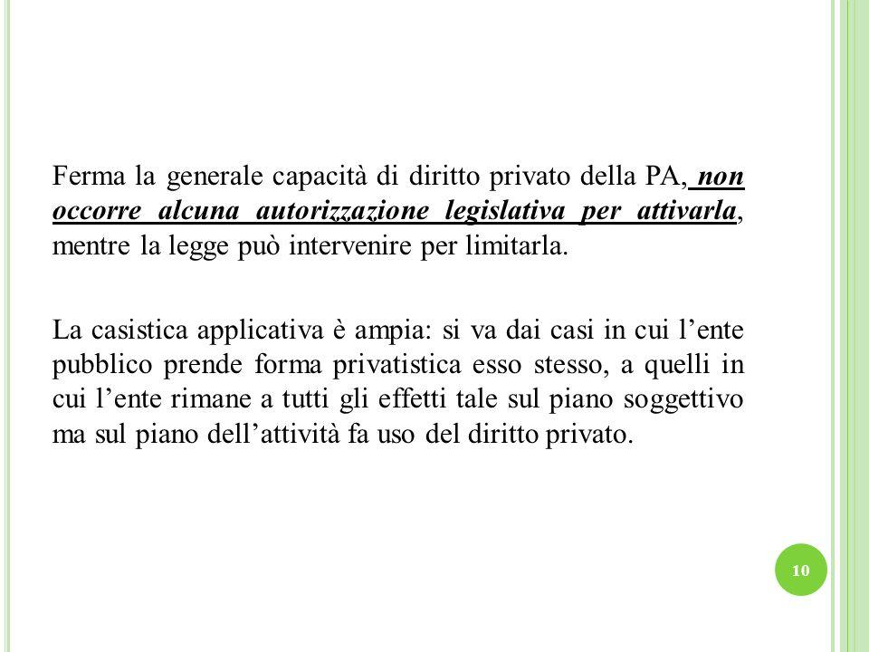 Ferma la generale capacità di diritto privato della PA, non occorre alcuna autorizzazione legislativa per attivarla, mentre la legge può intervenire per limitarla.