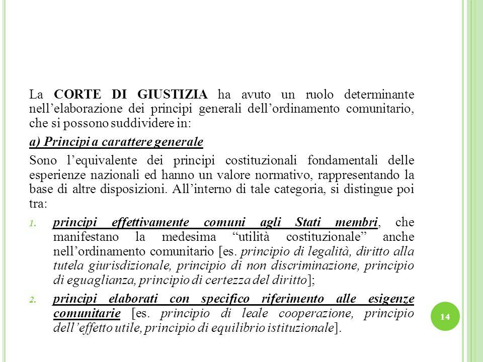 La CORTE DI GIUSTIZIA ha avuto un ruolo determinante nell'elaborazione dei principi generali dell'ordinamento comunitario, che si possono suddividere in: