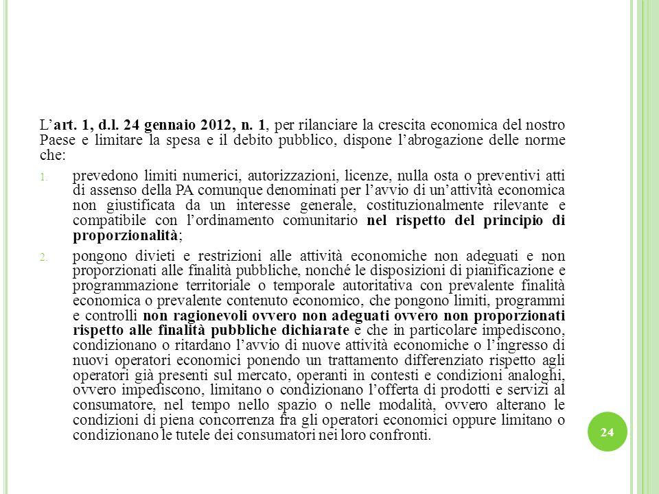 L'art. 1, d.l. 24 gennaio 2012, n. 1, per rilanciare la crescita economica del nostro Paese e limitare la spesa e il debito pubblico, dispone l'abrogazione delle norme che:
