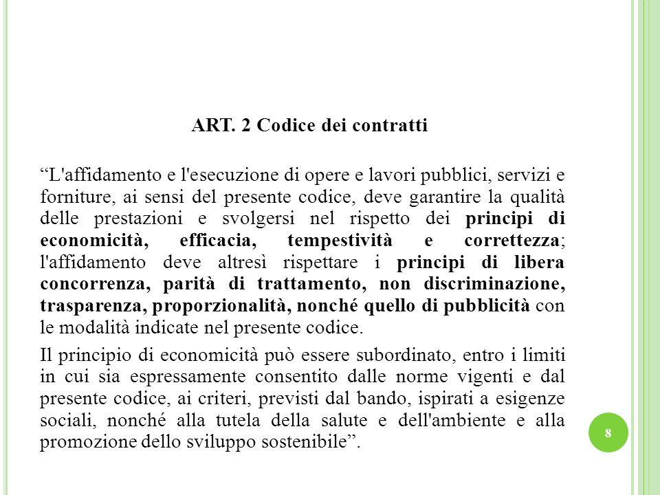 ART. 2 Codice dei contratti