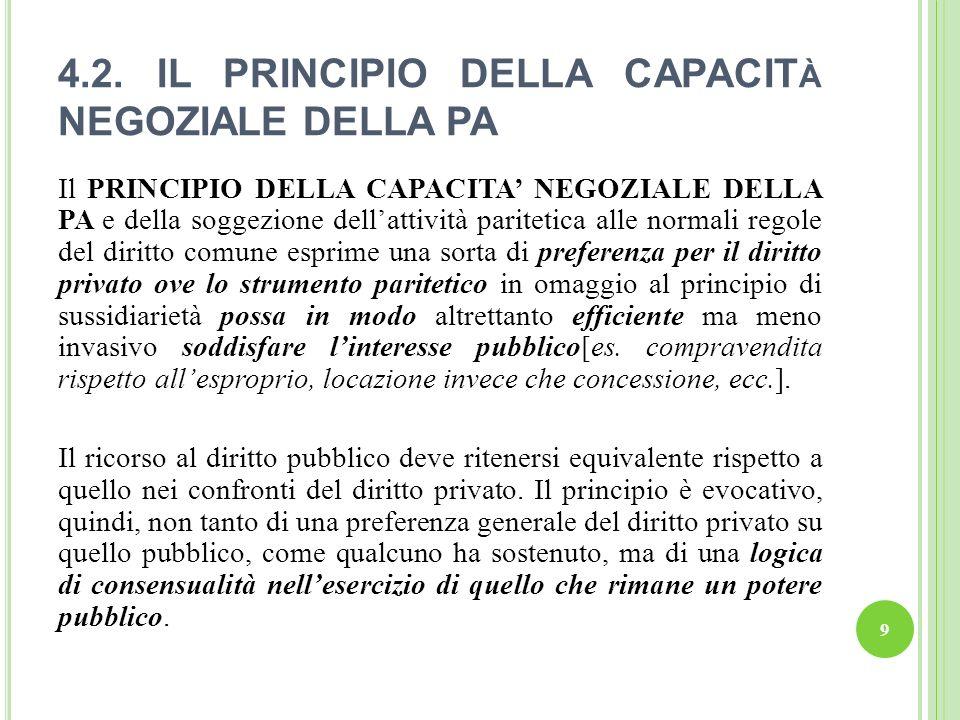 4.2. IL PRINCIPIO DELLA CAPACITà NEGOZIALE DELLA PA