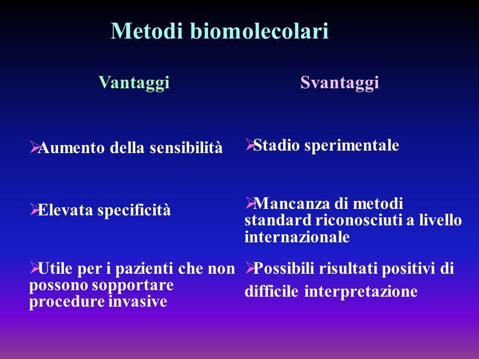 Metodi biomolecolari Vantaggi Svantaggi Aumento della sensibilità
