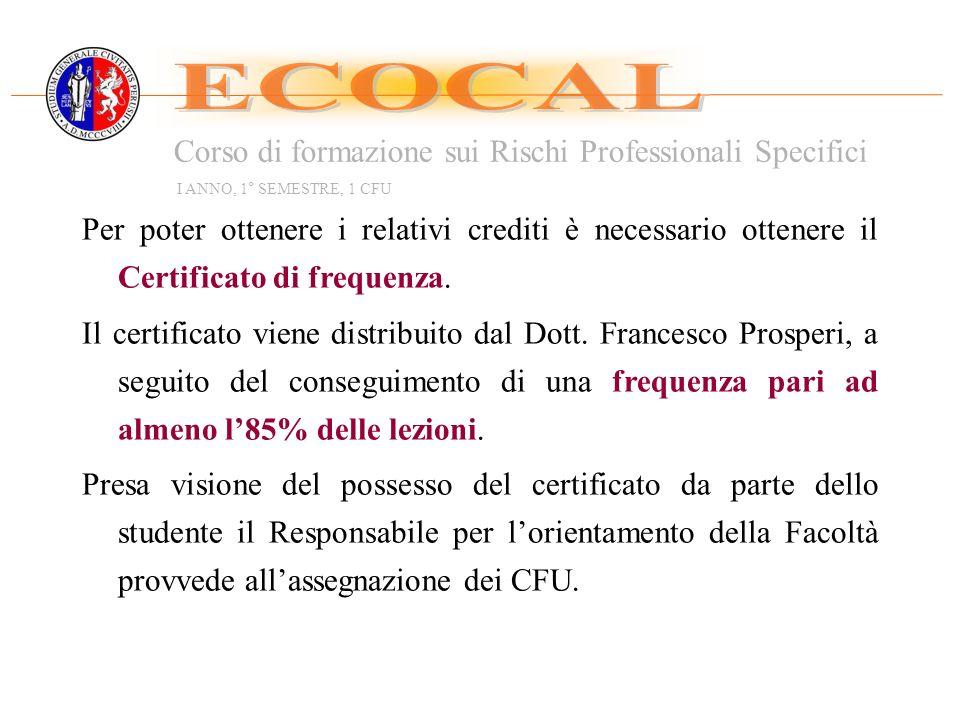 ECOCAL Corso di formazione sui Rischi Professionali Specifici