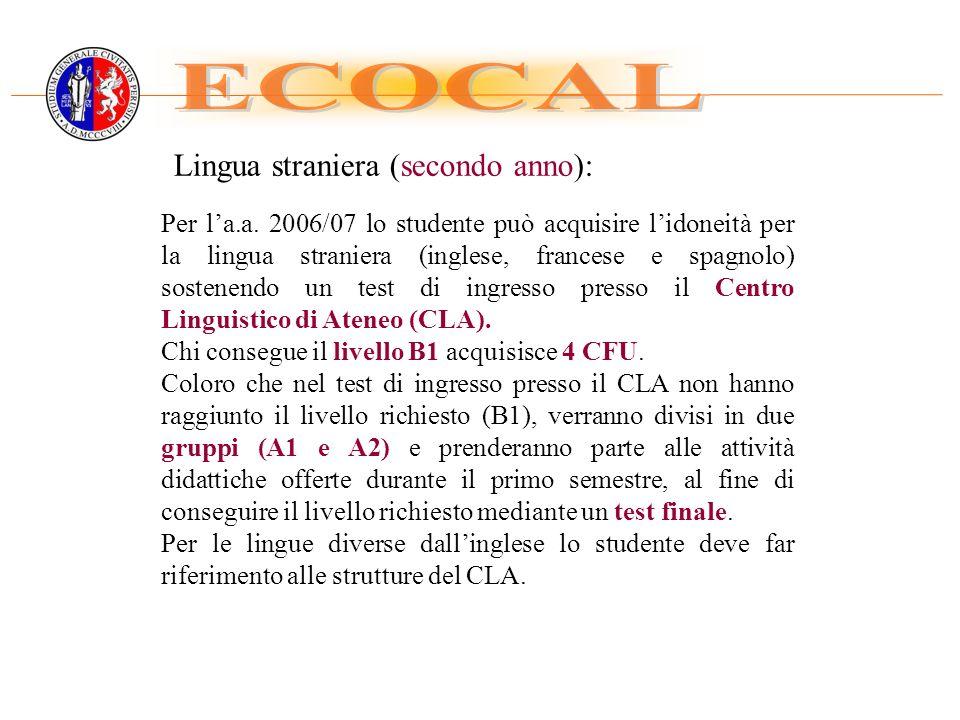 ECOCAL Lingua straniera (secondo anno):