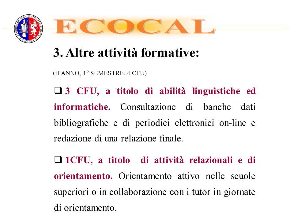 ECOCAL 3. Altre attività formative: