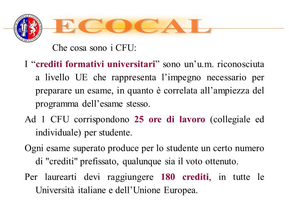 ECOCAL Che cosa sono i CFU: