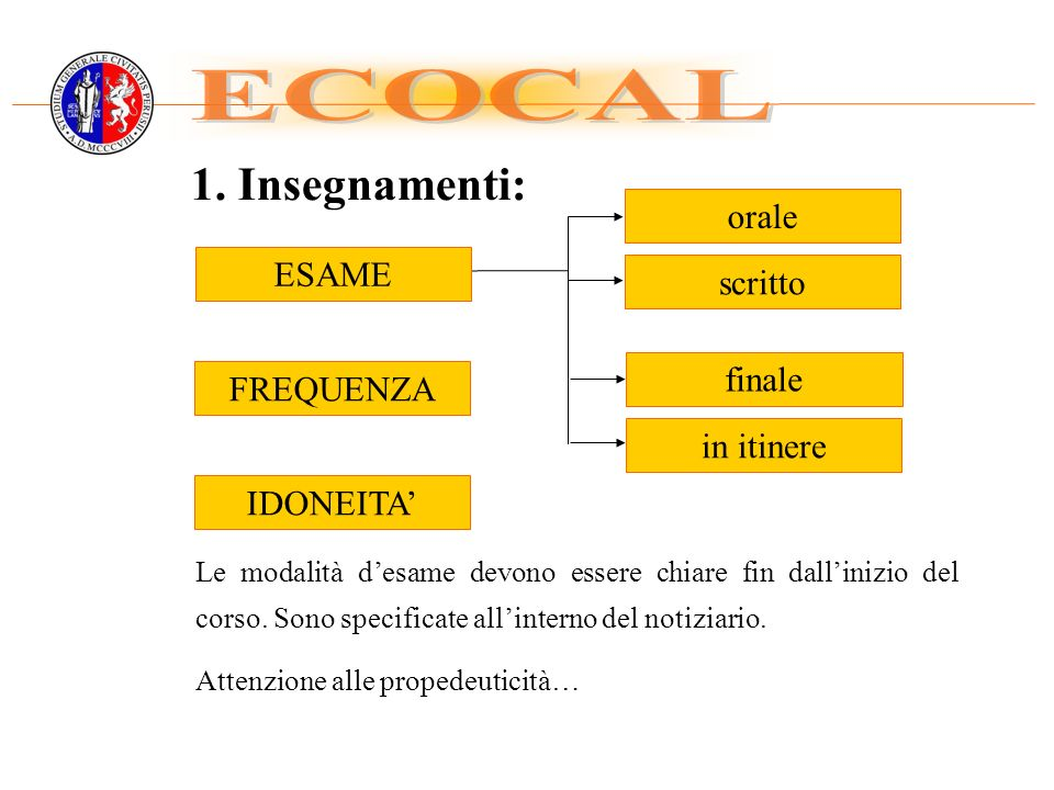 ECOCAL 1. Insegnamenti: orale ESAME scritto finale FREQUENZA