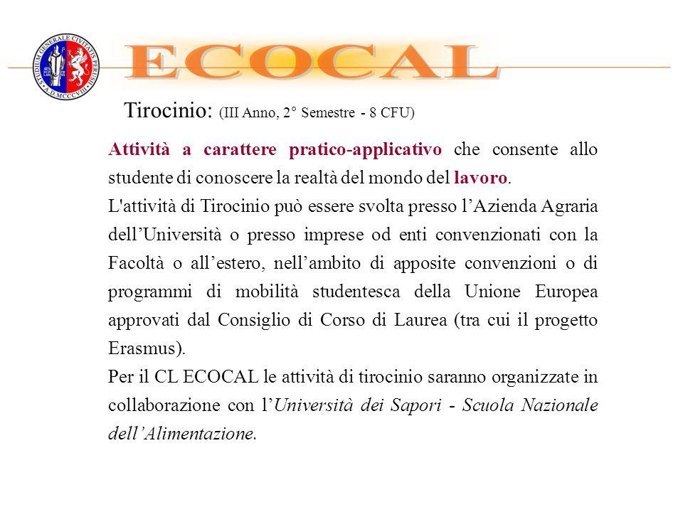 ECOCAL Tirocinio: (III Anno, 2° Semestre - 8 CFU)