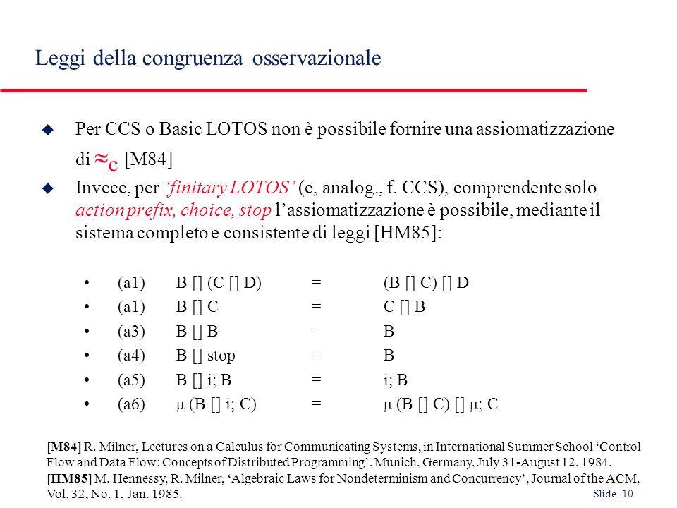 Leggi della congruenza osservazionale