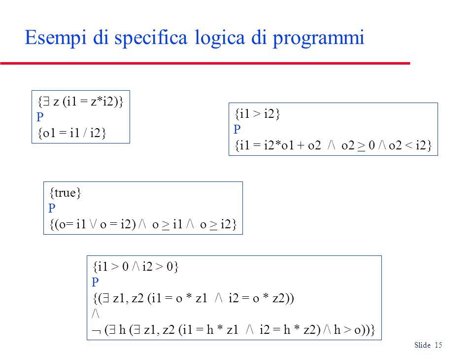 Esempi di specifica logica di programmi