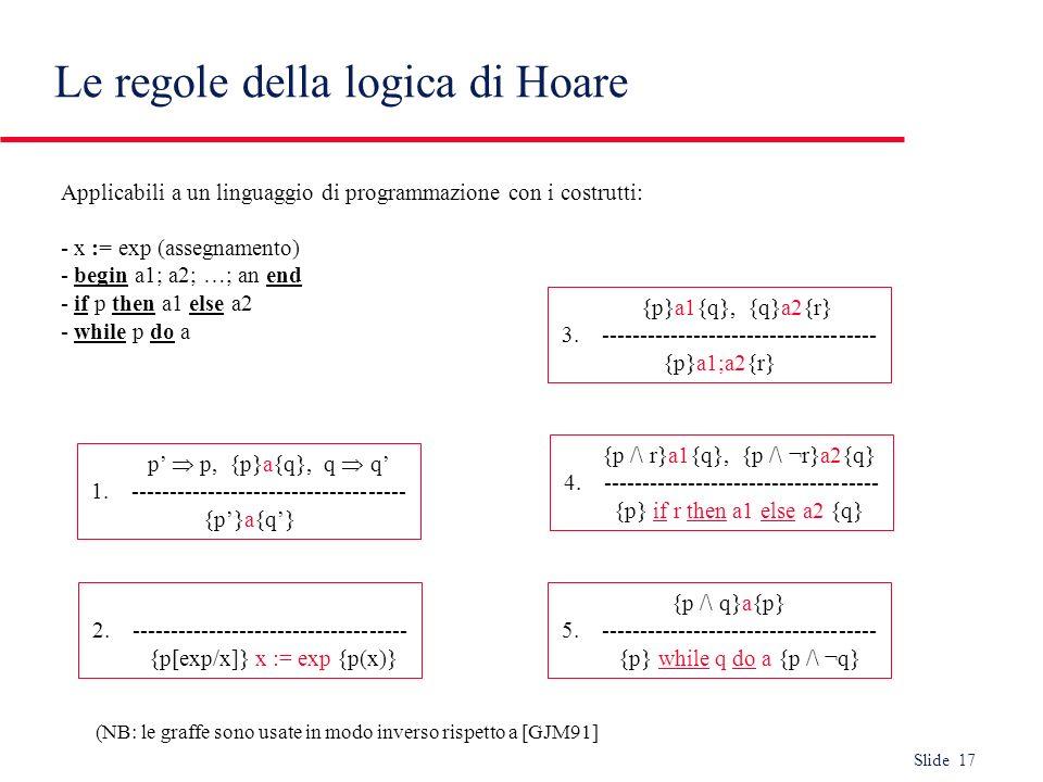 Le regole della logica di Hoare