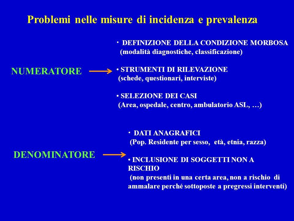 Problemi nelle misure di incidenza e prevalenza