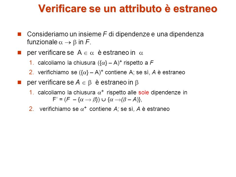 Verificare se un attributo è estraneo