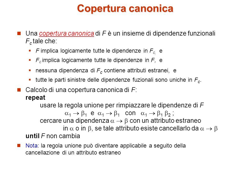 Copertura canonica Una copertura canonica di F è un insieme di dipendenze funzionali Fc tale che: