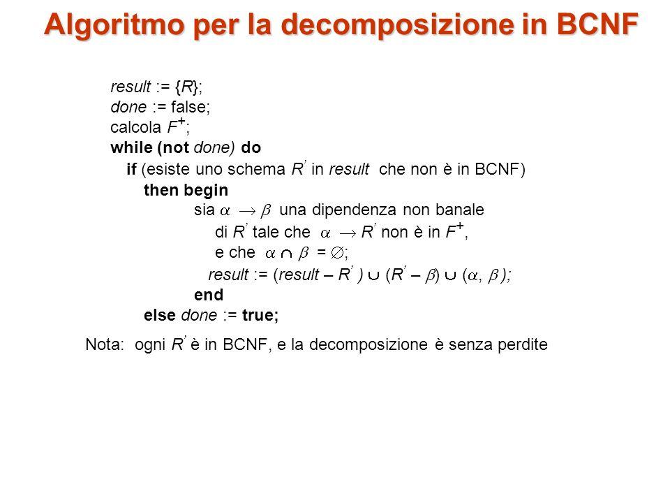 Algoritmo per la decomposizione in BCNF