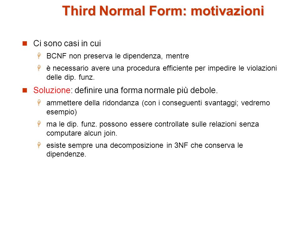 Third Normal Form: motivazioni