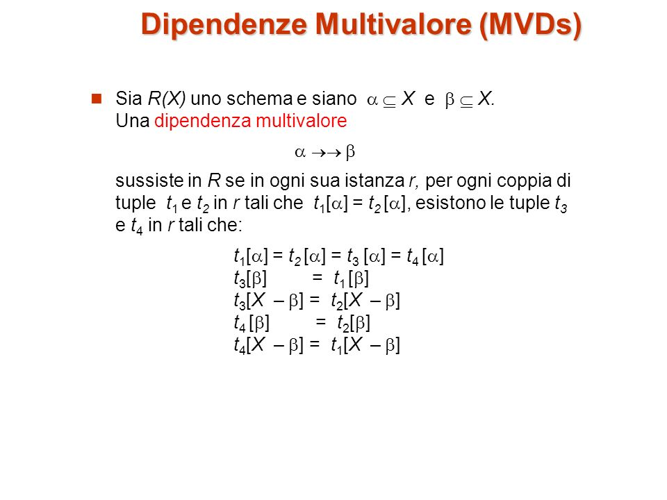 Dipendenze Multivalore (MVDs)