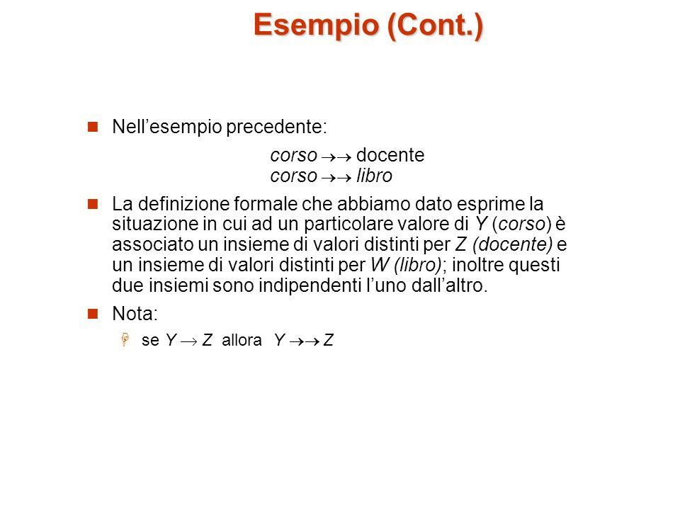 Esempio (Cont.) Nell'esempio precedente:
