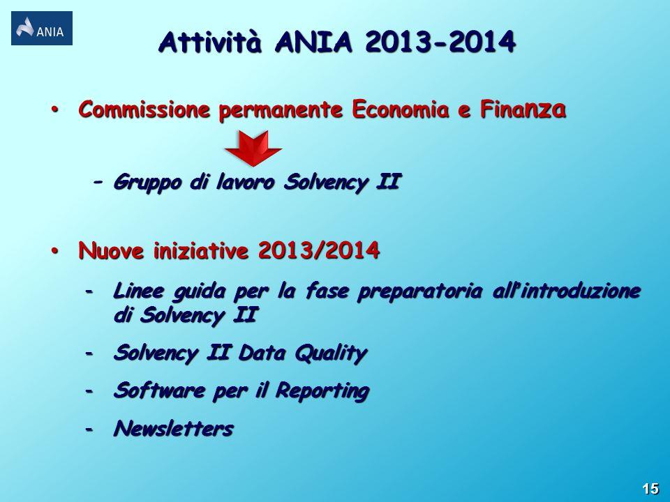 Attività ANIA 2013-2014 Commissione permanente Economia e Finanza