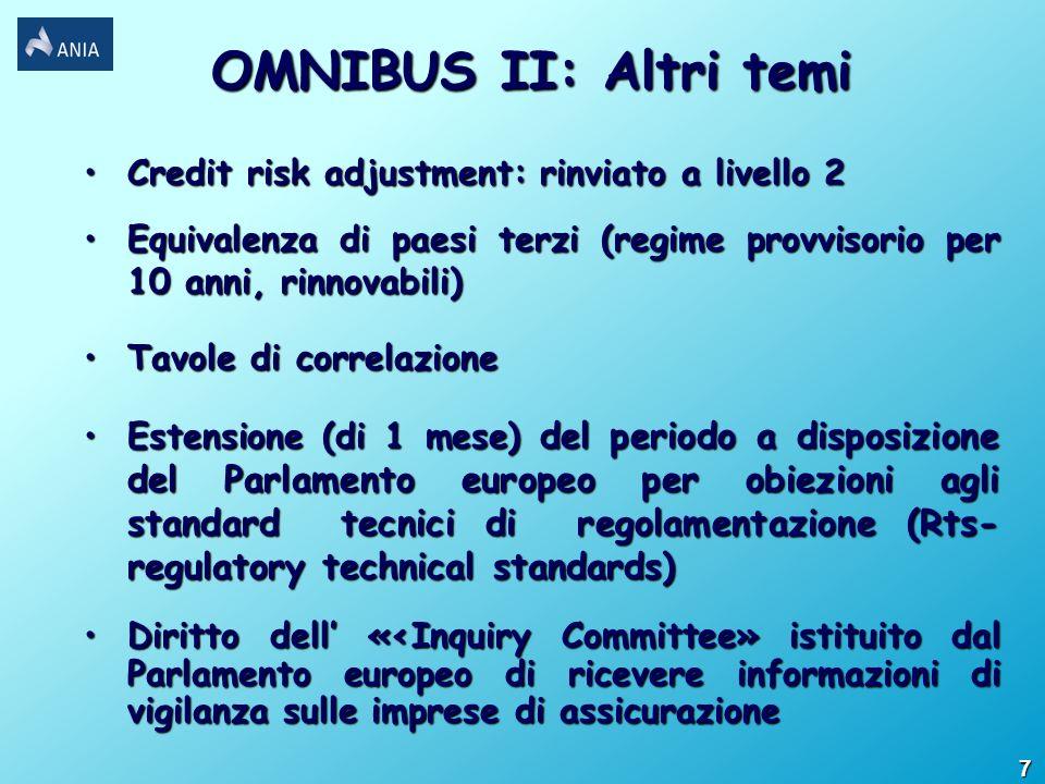 OMNIBUS II: Altri temi Credit risk adjustment: rinviato a livello 2