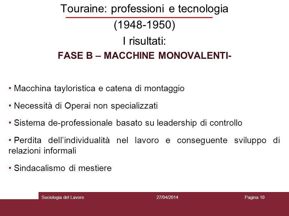 FASE B – MACCHINE MONOVALENTI-