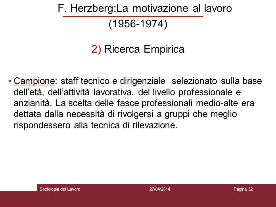 F. Herzberg:La motivazione al lavoro
