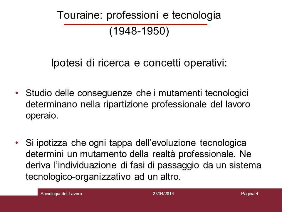 Touraine: professioni e tecnologia (1948-1950)