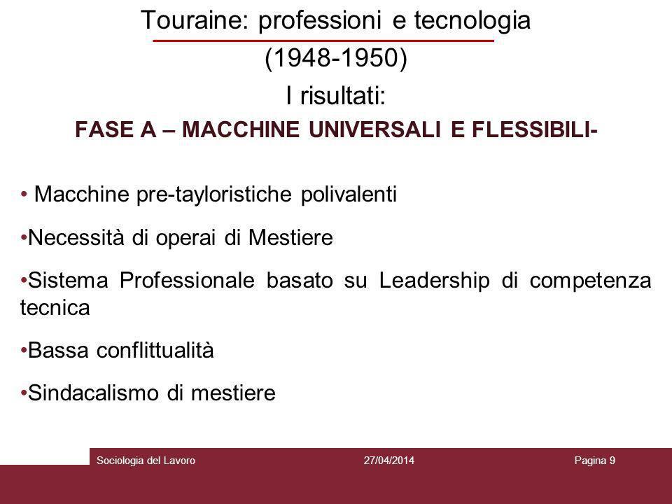 FASE A – MACCHINE UNIVERSALI E FLESSIBILI-