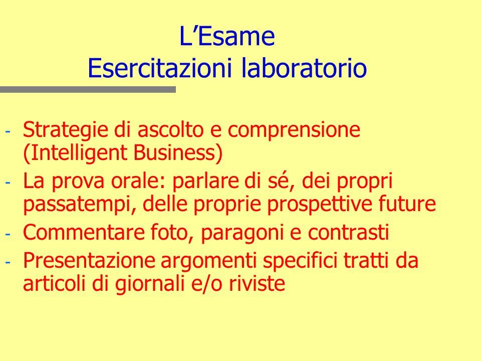 L'Esame Esercitazioni laboratorio