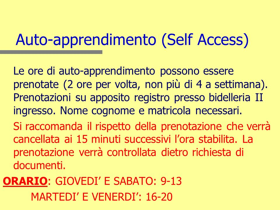 Auto-apprendimento (Self Access)