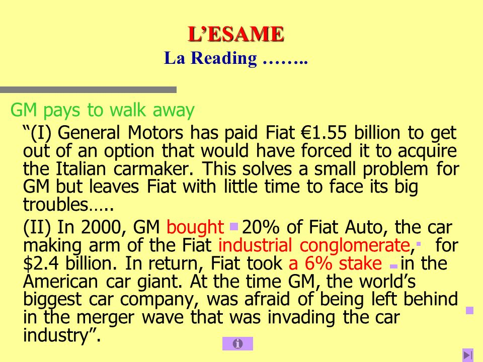 L'ESAME La Reading …….. GM pays to walk away