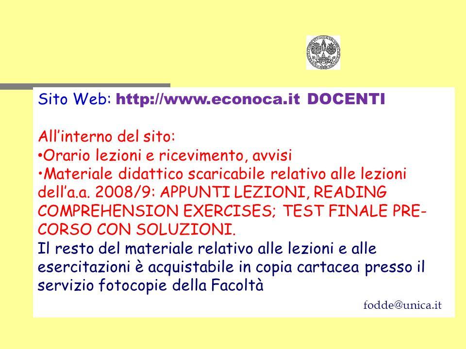 Sito Web: http://www.econoca.it DOCENTI All'interno del sito: