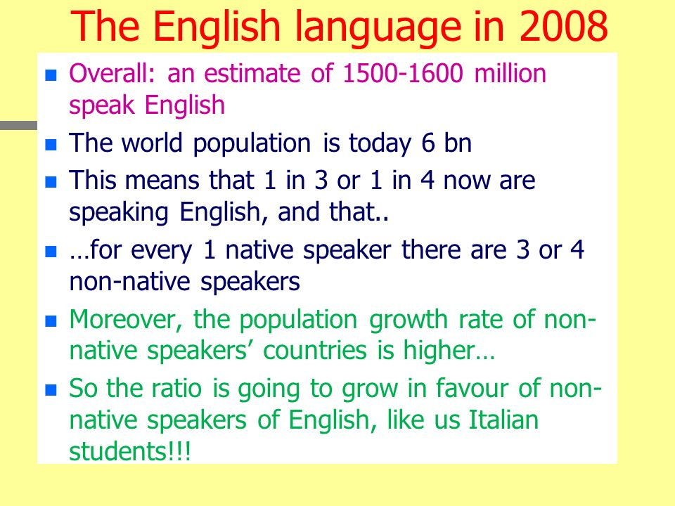 The English language in 2008
