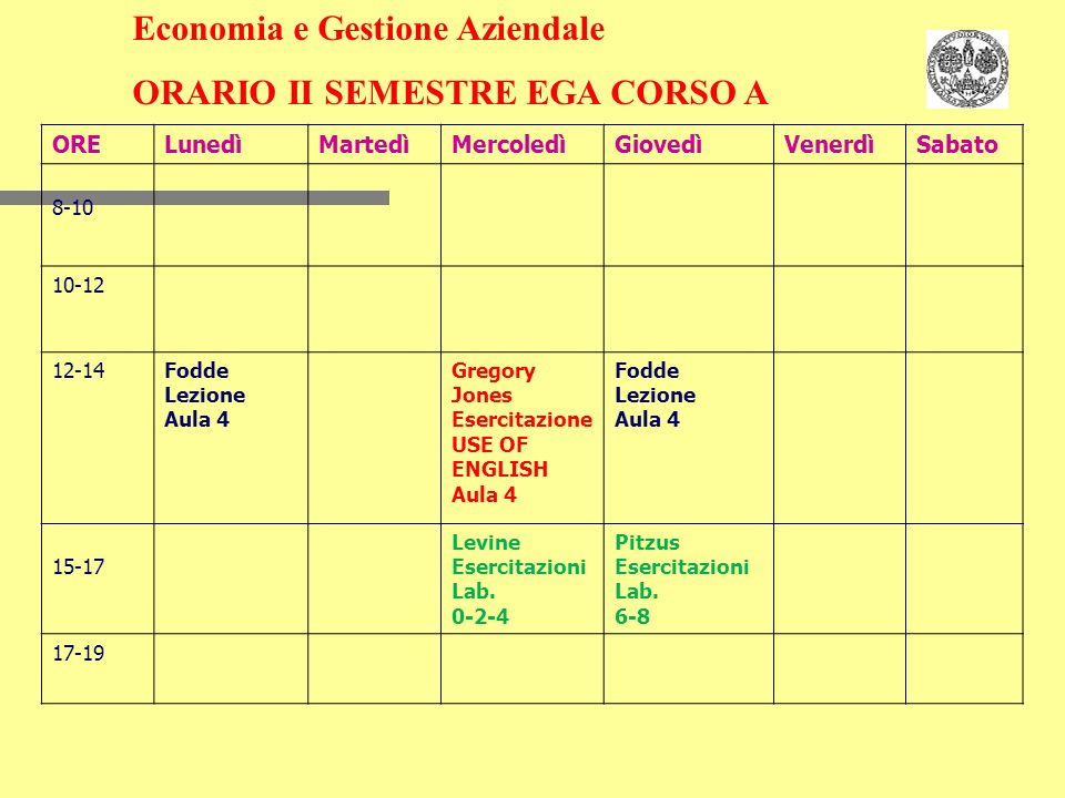 Economia e Gestione Aziendale ORARIO II SEMESTRE EGA CORSO A