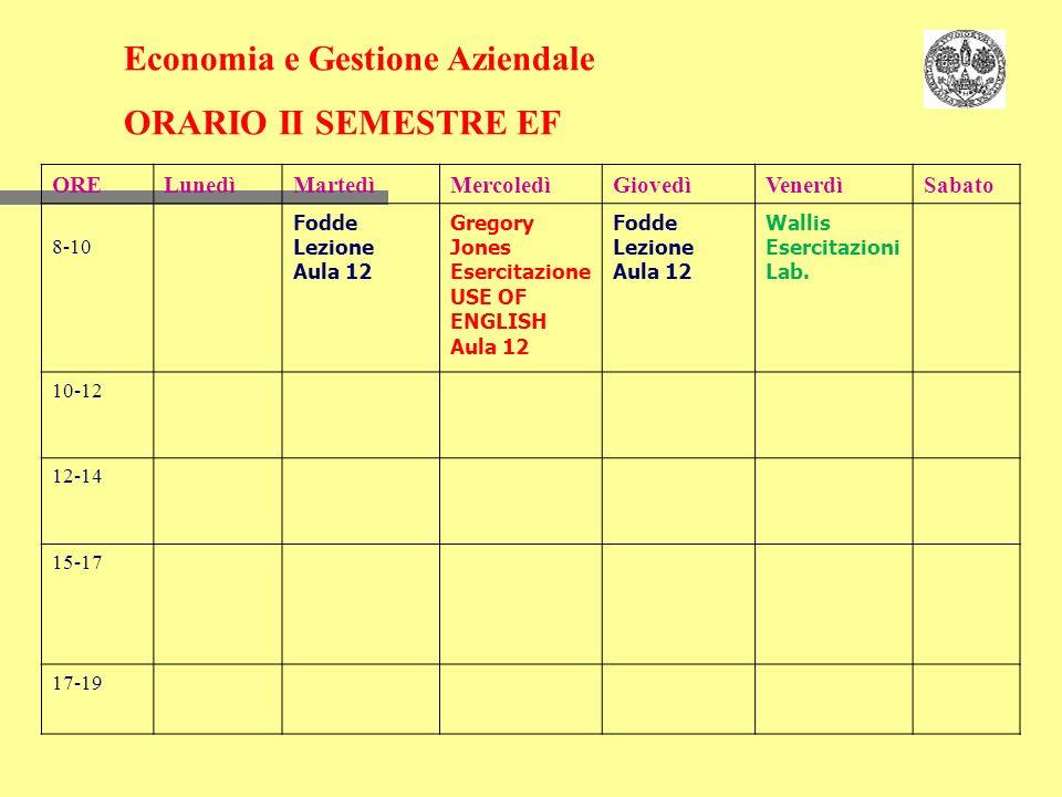 Economia e Gestione Aziendale ORARIO II SEMESTRE EF
